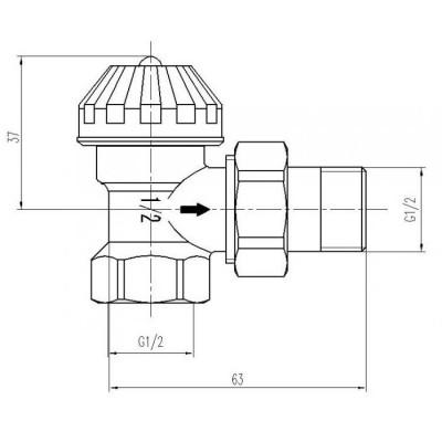 Zawór terostatyczny kątowy M30x1,5