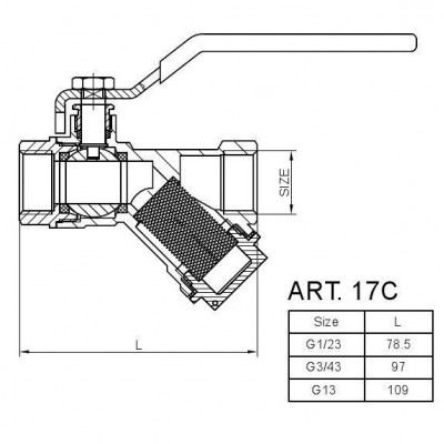 Zawór kulowy z filtrem i dławicą Hiszpan PN30 DN20 3/4 cala