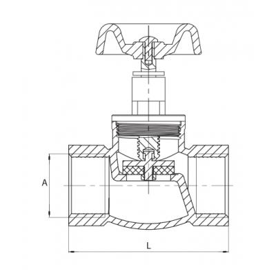 Zawór zaporowy żeliwny ocynkowany DN20 3/4 cala
