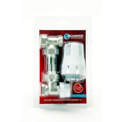 Zestaw termostatyczny kątowy DN15