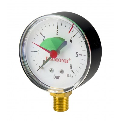 """Manometr Techniczny śr. 50mm Gwint 1/2"""" radialny 0-6Bar"""