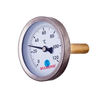"""Termometr śr 63 mm 0-120 C, gwint 1/2"""""""