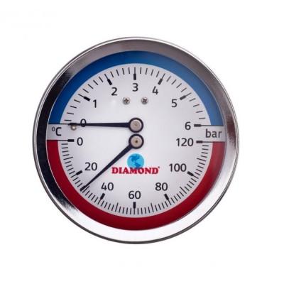 "Termomanometr śr 80mm, 0-120 C, 0-6 bar gwint 1/2"""