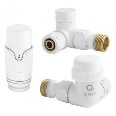 Zestaw termostatyczny osiowy z głowicą biały 1/2 cala DN15