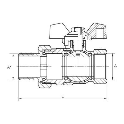 Zawór kulowy z śrubunkiem i dławicą Hiszpan PN30 DN20 3/4 cala