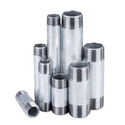 Króciec stalowy ocynkowany gwintowany 1/2 cala L-200mm