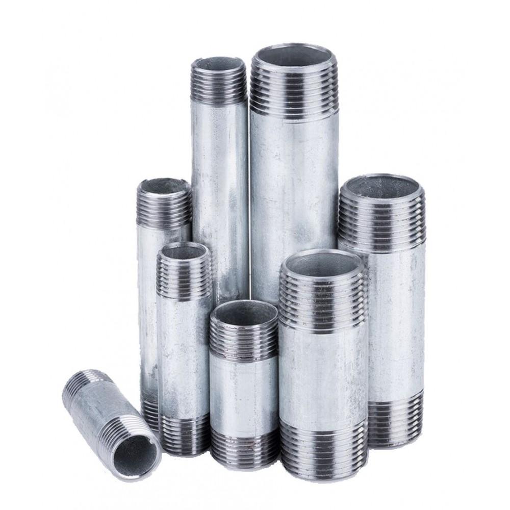 Króciec stalowy ocynkowany gwintowany 1/2 cala L-80mm