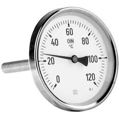 """Termometr bimetaliczny BiTh 80, fi 80 mm, 0-120°C, tuleja 63 mm, 1/2"""" ax, kl. 2,0"""