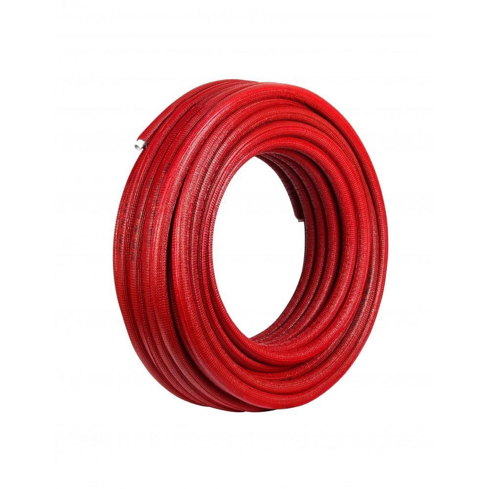 Rura Pex/Al/Pex 16 x 2 mm w otulinie czerwonej 6mm zwój 50mb