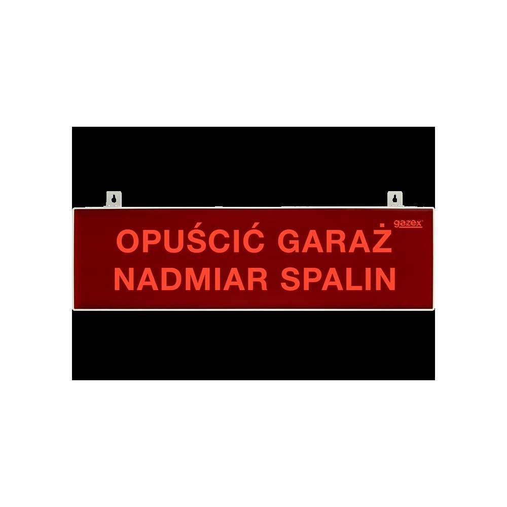 Tablica ostrzegawacza pulsująca, czerwona, napis H1 - NIE WCHODZIĆ NADMIAR SPALIN