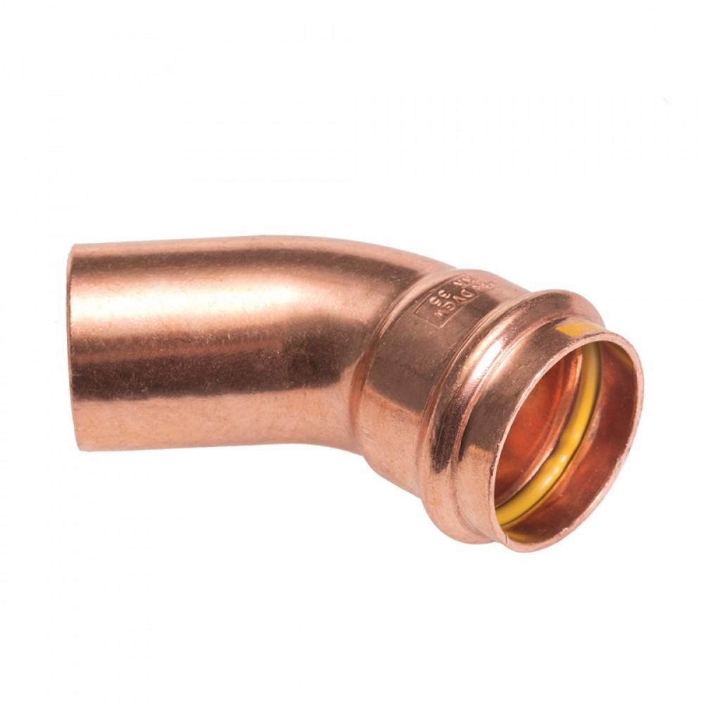 Łuk jednokielichowy 45° 15mm B Press Gas