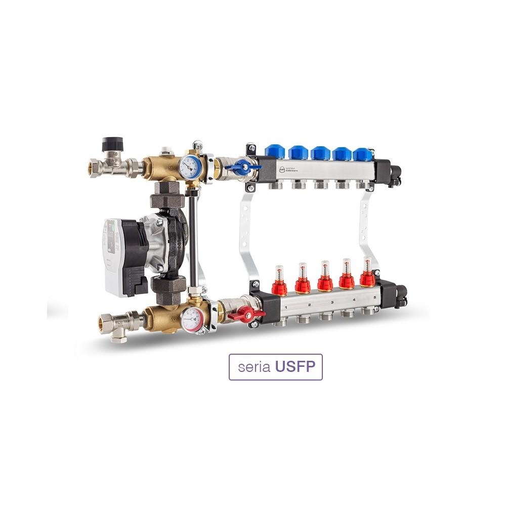 Rozdzielacz InoxFlow z układem mieszającym (seria USFP) - 3 obwody